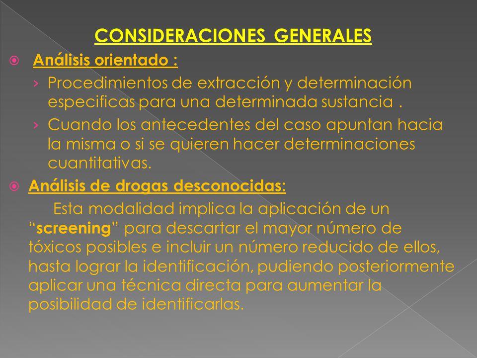 Tóxicos que requieren pocos procesos de extracción. Ej: T. Volátiles Tóxicos que necesitan procesos de extracción, concentración y limpieza de extract