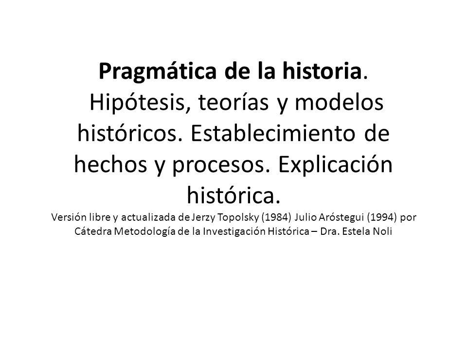 Pragmática de la historia.Hipótesis, teorías y modelos históricos.