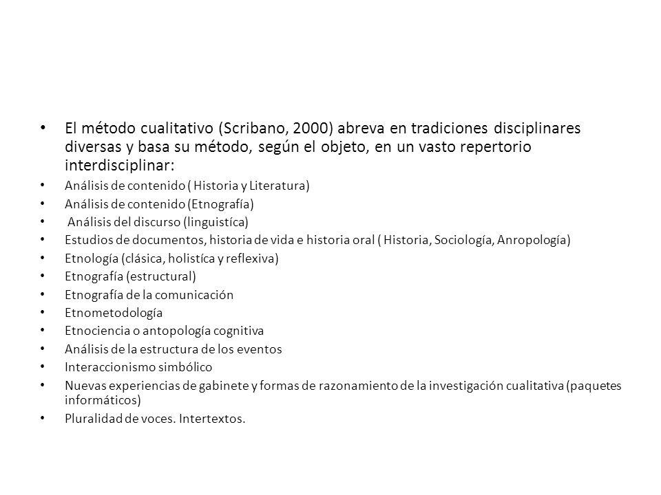 El método cualitativo (Scribano, 2000) abreva en tradiciones disciplinares diversas y basa su método, según el objeto, en un vasto repertorio interdisciplinar: Análisis de contenido ( Historia y Literatura) Análisis de contenido (Etnografía) Análisis del discurso (linguistíca) Estudios de documentos, historia de vida e historia oral ( Historia, Sociología, Anropología) Etnología (clásica, holistíca y reflexiva) Etnografía (estructural) Etnografía de la comunicación Etnometodología Etnociencia o antopología cognitiva Análisis de la estructura de los eventos Interaccionismo simbólico Nuevas experiencias de gabinete y formas de razonamiento de la investigación cualitativa (paquetes informáticos) Pluralidad de voces.