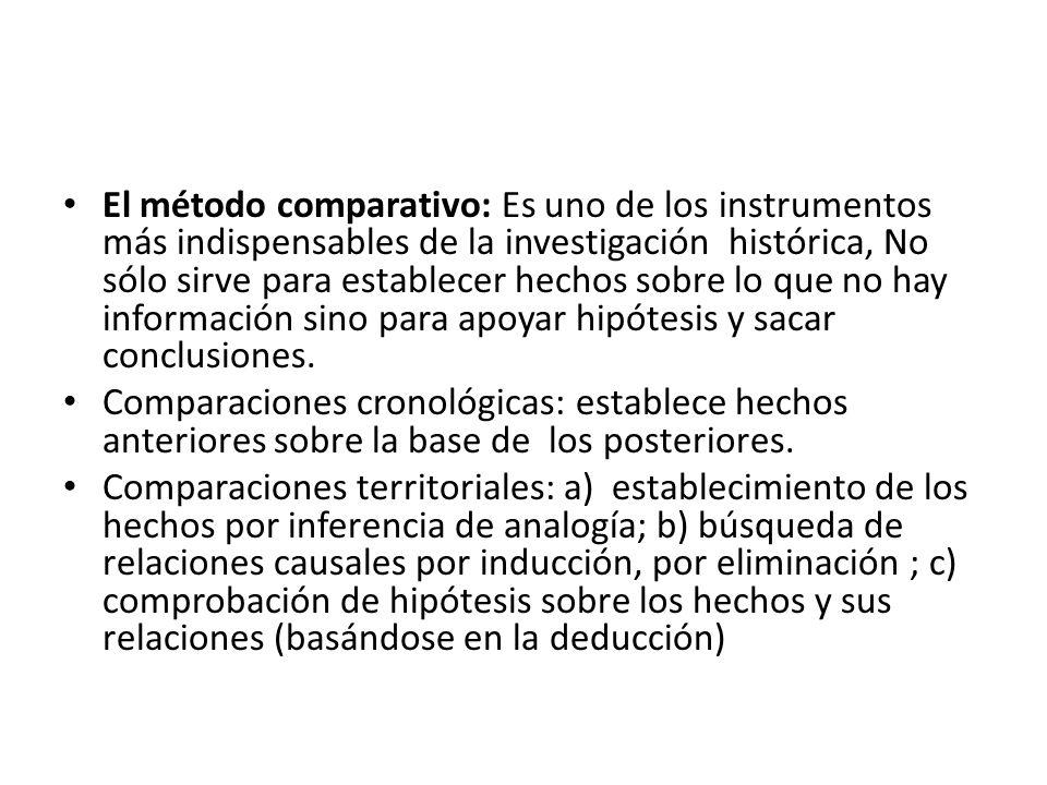 El método comparativo: Es uno de los instrumentos más indispensables de la investigación histórica, No sólo sirve para establecer hechos sobre lo que no hay información sino para apoyar hipótesis y sacar conclusiones.