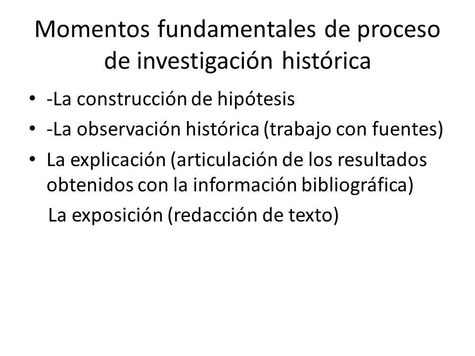 Momentos fundamentales de proceso de investigación histórica -La construcción de hipótesis -La observación histórica (trabajo con fuentes) La explicación (articulación de los resultados obtenidos con la información bibliográfica) La exposición (redacción de texto)
