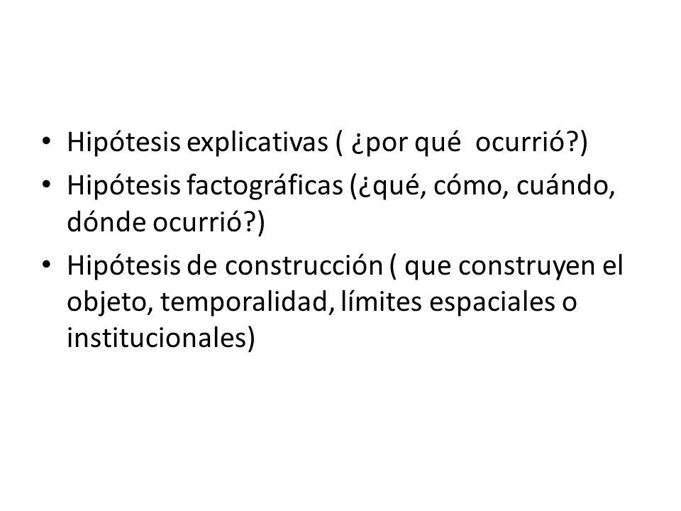 Hipótesis explicativas ( ¿por qué ocurrió?) Hipótesis factográficas (¿qué, cómo, cuándo, dónde ocurrió?) Hipótesis de construcción ( que construyen el objeto, temporalidad, límites espaciales o institucionales)