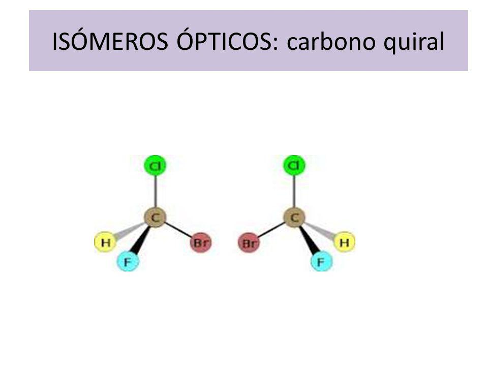 ISÓMEROS ÓPTICOS: carbono quiral