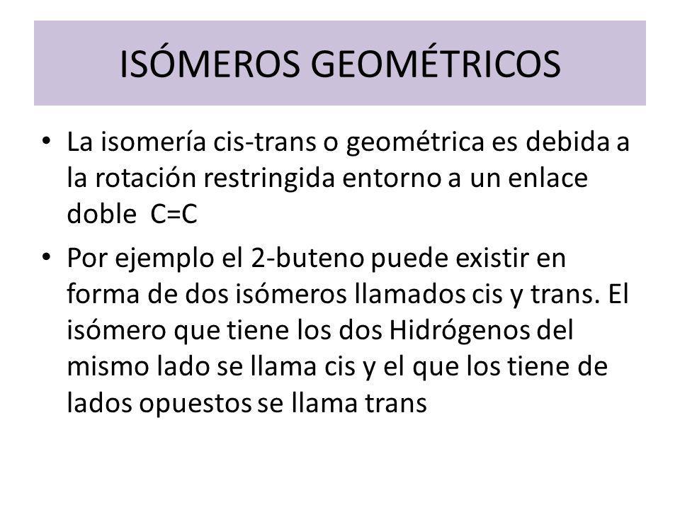 ISÓMEROS GEOMÉTRICOS La isomería cis-trans o geométrica es debida a la rotación restringida entorno a un enlace doble C=C Por ejemplo el 2-buteno pued