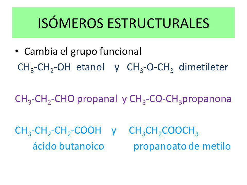ISÓMEROS ESTRUCTURALES Cambia el grupo funcional CH 3 -CH 2 -OH etanol y CH 3 -O-CH 3 dimetileter CH 3 -CH 2 -CHO propanal y CH 3 -CO-CH 3 propanona C