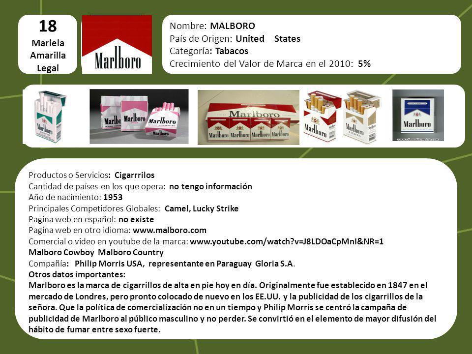 logo 18 Mariela Amarilla Legal Nombre: MALBORO País de Origen: United States Categoría: Tabacos Crecimiento del Valor de Marca en el 2010: 5% Producto