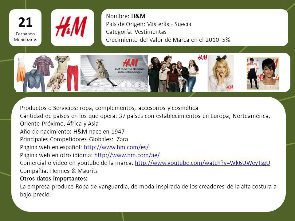 Nombre: H&M País de Origen: Västerås - Suecia Categoría: Vestimentas Crecimiento del Valor de Marca en el 2010: 5% Productos o Servicios: ropa, comple