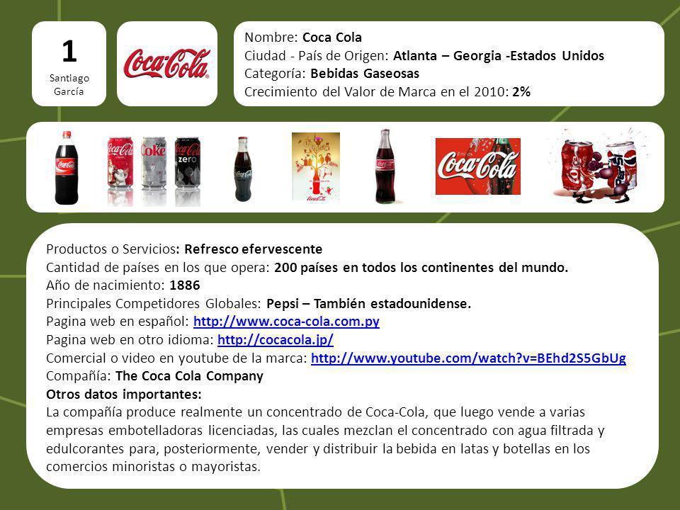 Nombre: Coca Cola Ciudad - País de Origen: Atlanta – Georgia -Estados Unidos Categoría: Bebidas Gaseosas Crecimiento del Valor de Marca en el 2010: 2%