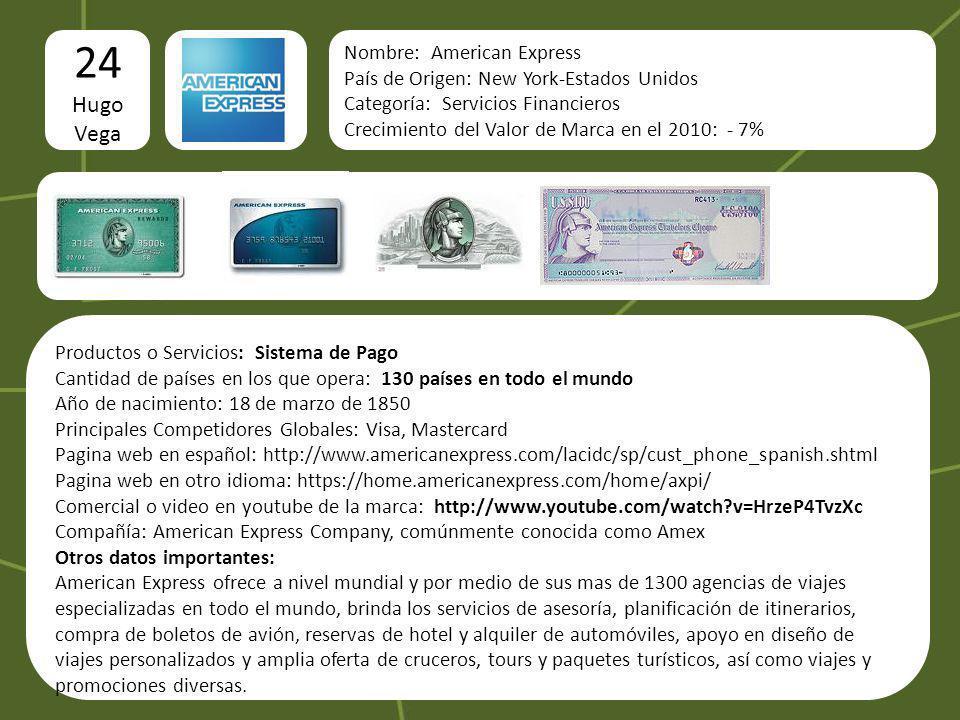 24 Hugo Vega Nombre: American Express País de Origen: New York-Estados Unidos Categoría: Servicios Financieros Crecimiento del Valor de Marca en el 20