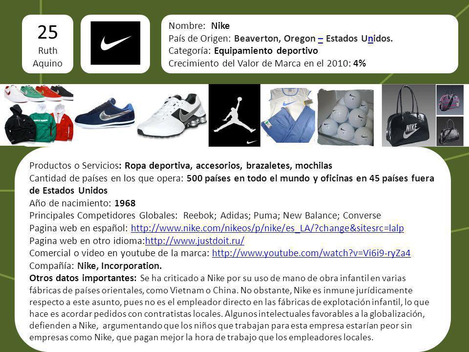 logo 25 Ruth Aquino Imágenes del producto o servicio Nombre: Nike País de Origen: Beaverton, Oregon – Estados Unidos.–n Categoría: Equipamiento deport
