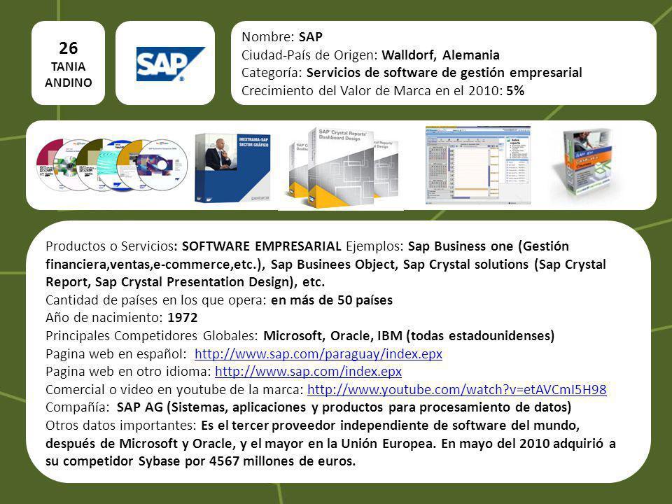 26 TANIA ANDINO Nombre: SAP Ciudad-País de Origen: Walldorf, Alemania Categoría: Servicios de software de gestión empresarial Crecimiento del Valor de