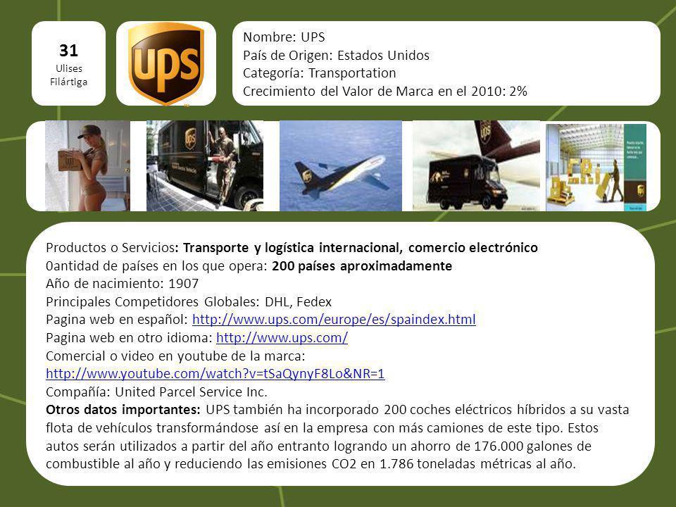logo 31 Ulises Filártiga Nombre: UPS País de Origen: Estados Unidos Categoría: Transportation Crecimiento del Valor de Marca en el 2010: 2% Productos
