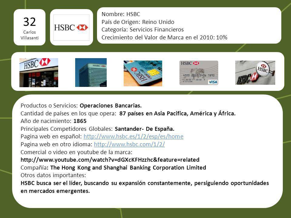 32 Carlos Villasanti Nombre: HSBC País de Origen: Reino Unido Categoría: Servicios Financieros Crecimiento del Valor de Marca en el 2010: 10% Producto