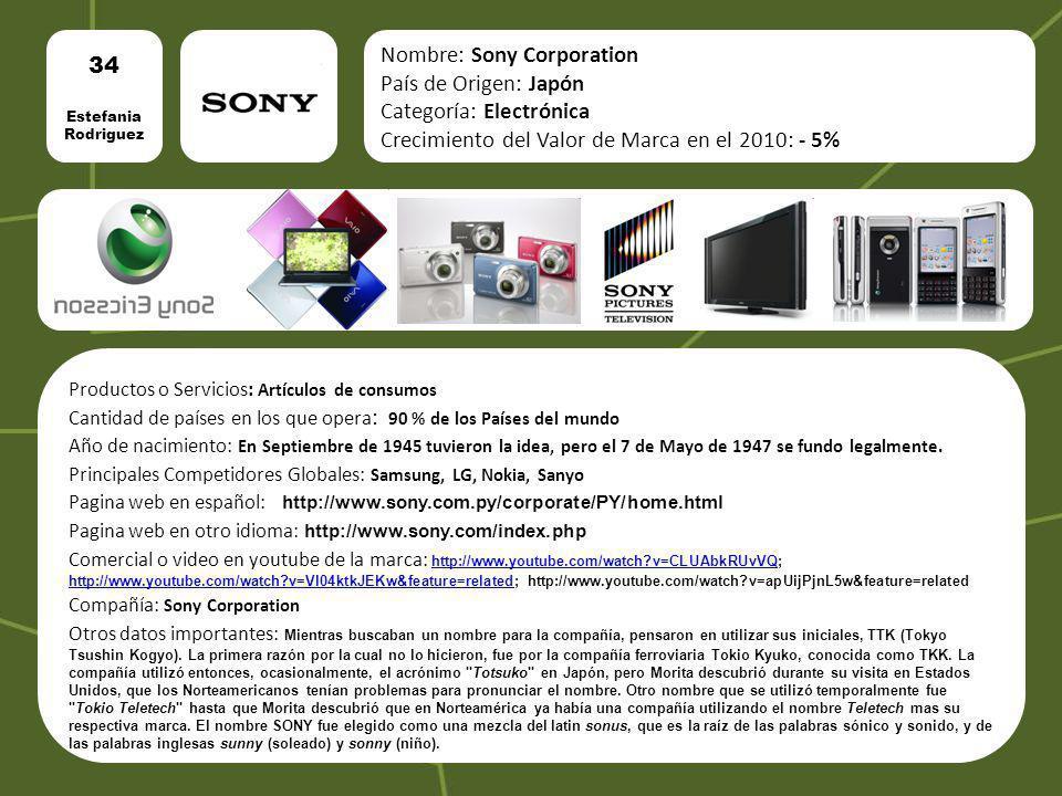 34 Estefania Rodriguez Nombre: Sony Corporation País de Origen: Japón Categoría: Electrónica Crecimiento del Valor de Marca en el 2010: - 5% Productos
