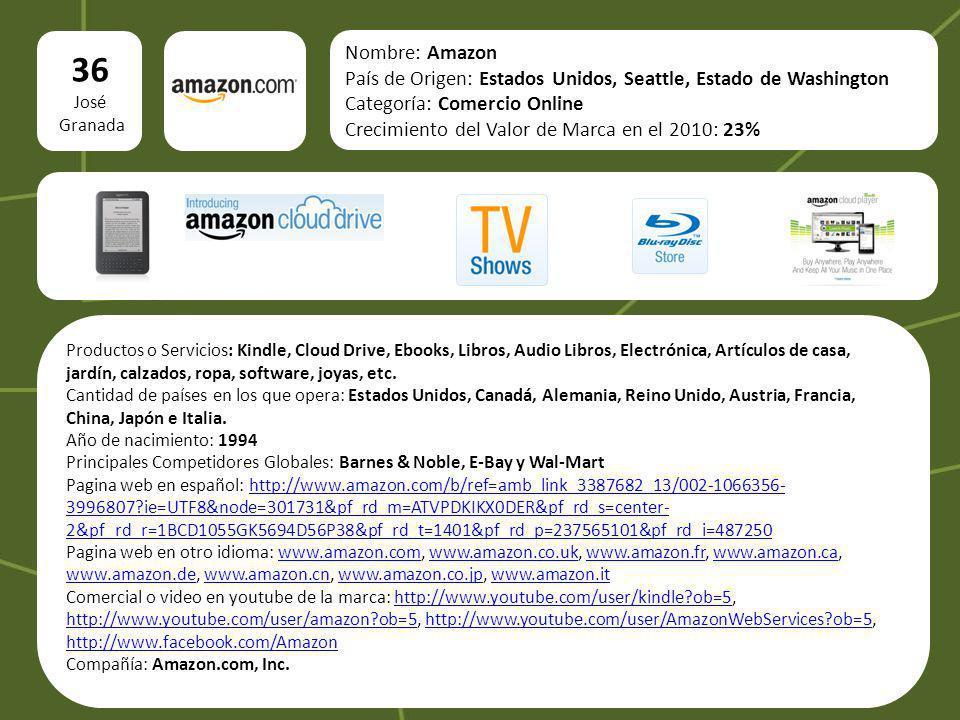 36 José Granada Nombre: Amazon País de Origen: Estados Unidos, Seattle, Estado de Washington Categoría: Comercio Online Crecimiento del Valor de Marca