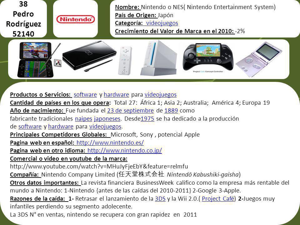 38 Pedro Rodríguez 52140 Imágenes del producto o servicio Nombre: Nintendo o NES( Nintendo Entertainment System) País de Origen: Japón Categoría: vide