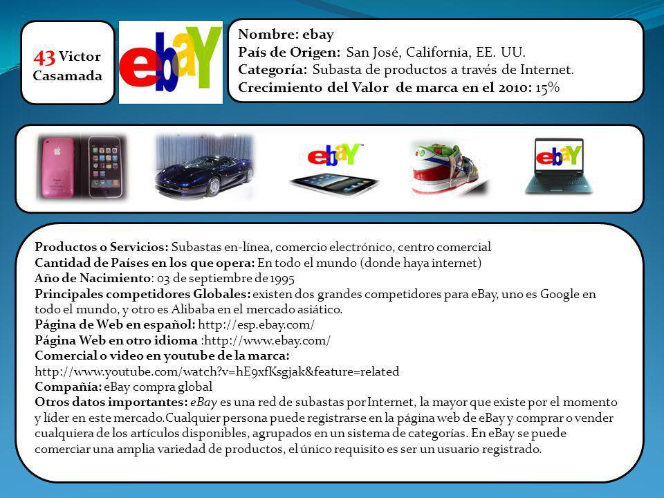43 Victor Casamada Nombre: ebay País de Origen: San José, California, EE. UU. Categoría: Subasta de productos a través de Internet. Crecimiento del Va
