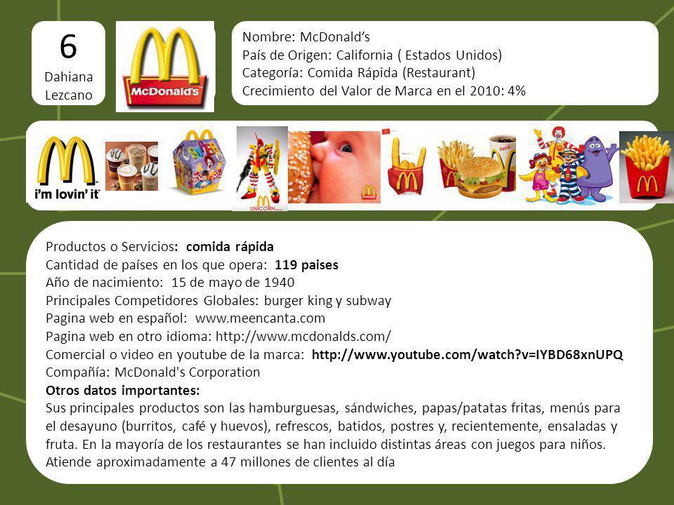 logo 6 Dahiana Lezcano Imágenes del producto o servicio Nombre: McDonalds País de Origen: California ( Estados Unidos) Categoría: Comida Rápida (Resta