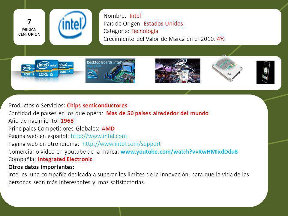 7 MIRIAN CENTURION Nombre: Intel País de Origen: Estados Unidos Categoría: Tecnología Crecimiento del Valor de Marca en el 2010: 4% Productos o Servic