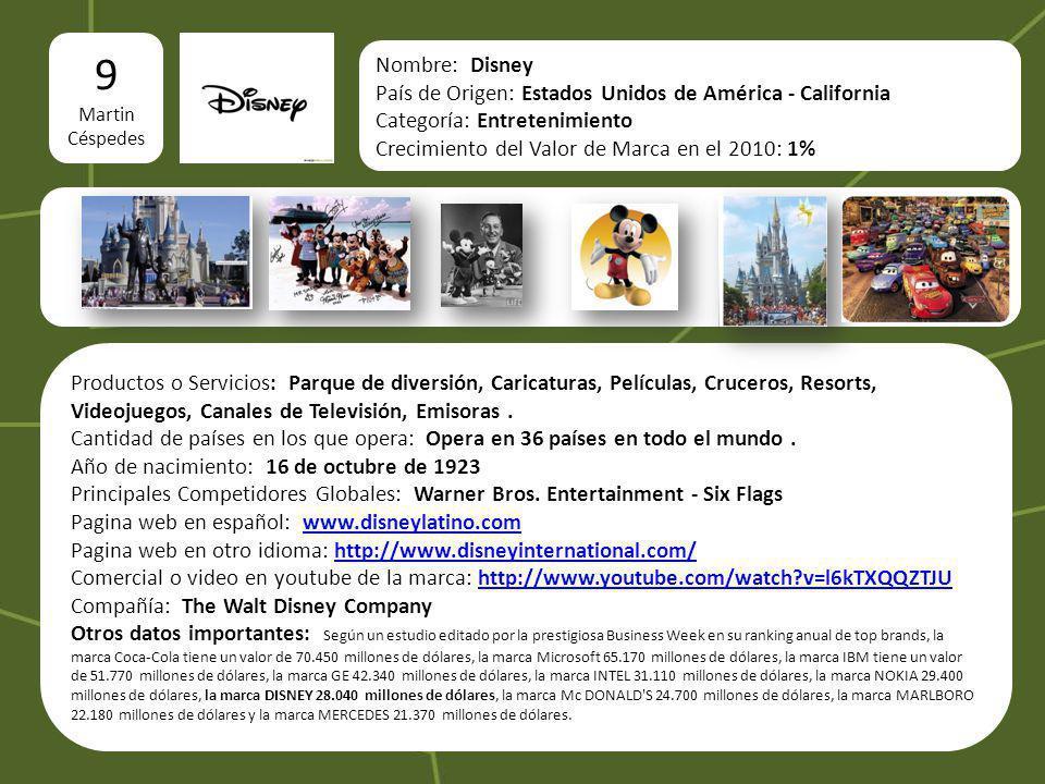 logo 9 Martin Céspedes Nombre: Disney País de Origen: Estados Unidos de América - California Categoría: Entretenimiento Crecimiento del Valor de Marca