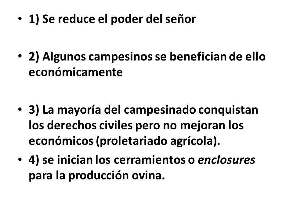 1) Se reduce el poder del señor 2) Algunos campesinos se benefician de ello económicamente 3) La mayoría del campesinado conquistan los derechos civiles pero no mejoran los económicos (proletariado agrícola).