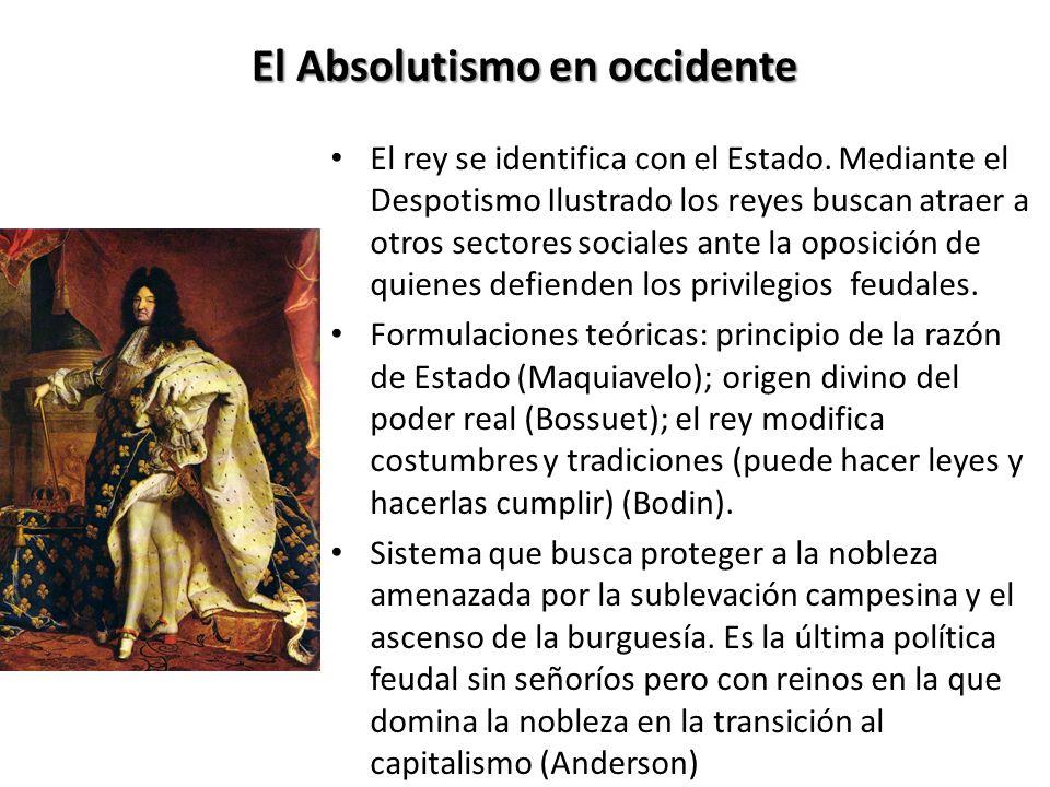 El Absolutismo en occidente El rey se identifica con el Estado.