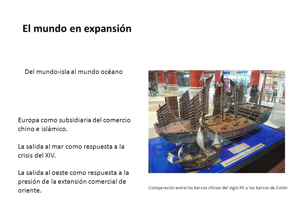 El mundo en expansión Del mundo-isla al mundo océano Europa como subsidiaria del comercio chino e islámico.