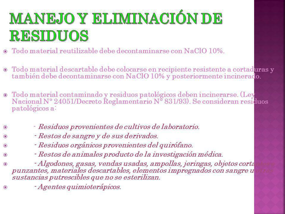 Todo material reutilizable debe decontaminarse con NaClO 10%.