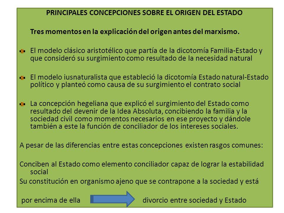 PRINCIPALES CONCEPCIONES SOBRE EL ORIGEN DEL ESTADO Tres momentos en la explicación del origen antes del marxismo. El modelo clásico aristotélico que