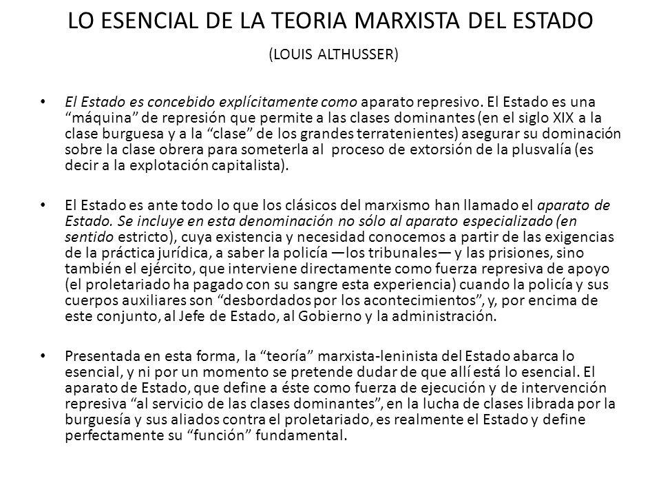 LO ESENCIAL DE LA TEORIA MARXISTA DEL ESTADO (LOUIS ALTHUSSER) El Estado es concebido explícitamente como aparato represivo. El Estado es una máquina