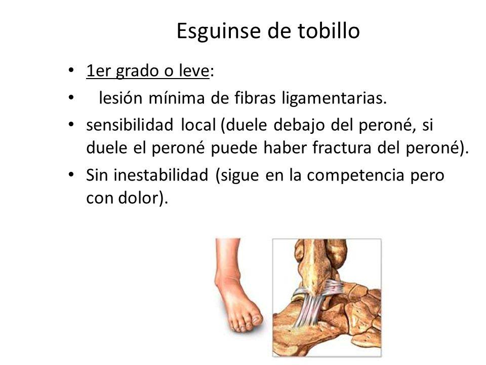 Esguinse de tobillo 1er grado o leve: lesión mínima de fibras ligamentarias. sensibilidad local (duele debajo del peroné, si duele el peroné puede hab