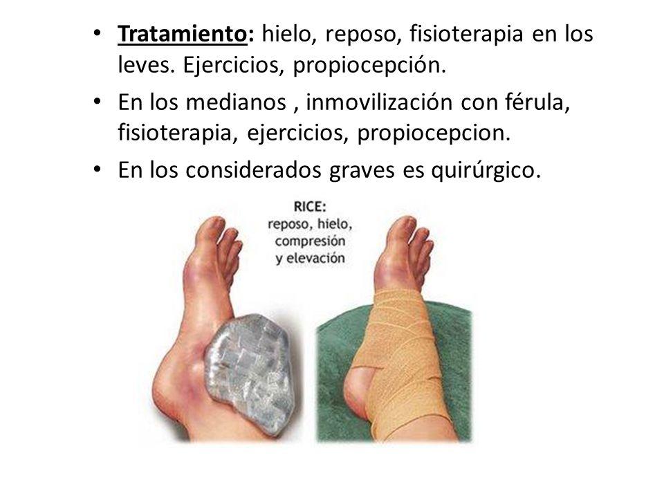 Tratamiento: hielo, reposo, fisioterapia en los leves. Ejercicios, propiocepción. En los medianos, inmovilización con férula, fisioterapia, ejercicios