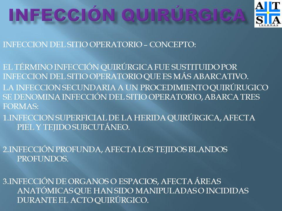 INFECCION DEL SITIO OPERATORIO – CONCEPTO: EL TÉRMINO INFECCIÓN QUIRÚRGICA FUE SUSTITUIDO POR INFECCION DEL SITIO OPERATORIO QUE ES MÁS ABARCATIVO.