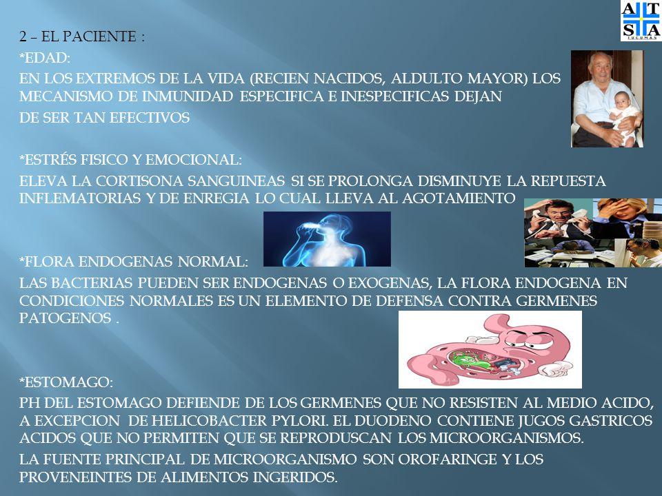 2 – EL PACIENTE : *EDAD: EN LOS EXTREMOS DE LA VIDA (RECIEN NACIDOS, ALDULTO MAYOR) LOS MECANISMO DE INMUNIDAD ESPECIFICA E INESPECIFICAS DEJAN DE SER TAN EFECTIVOS *ESTRÉS FISICO Y EMOCIONAL: ELEVA LA CORTISONA SANGUINEAS SI SE PROLONGA DISMINUYE LA REPUESTA INFLEMATORIAS Y DE ENREGIA LO CUAL LLEVA AL AGOTAMIENTO *FLORA ENDOGENAS NORMAL: LAS BACTERIAS PUEDEN SER ENDOGENAS O EXOGENAS, LA FLORA ENDOGENA EN CONDICIONES NORMALES ES UN ELEMENTO DE DEFENSA CONTRA GERMENES PATOGENOS.