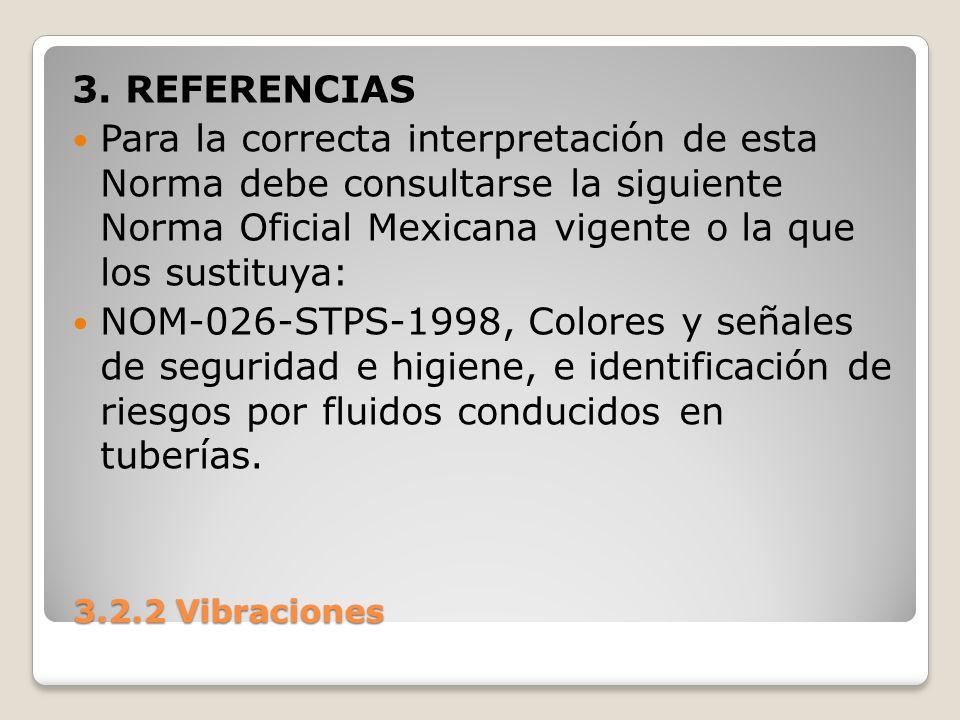 3.2.2 Vibraciones 3.2.2 Vibraciones 3. REFERENCIAS Para la correcta interpretación de esta Norma debe consultarse la siguiente Norma Oficial Mexicana