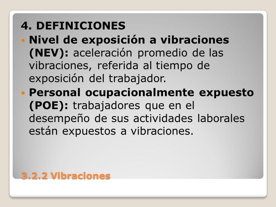 3.2.2 Vibraciones 3.2.2 Vibraciones 4. DEFINICIONES Nivel de exposición a vibraciones (NEV): aceleración promedio de las vibraciones, referida al tiem