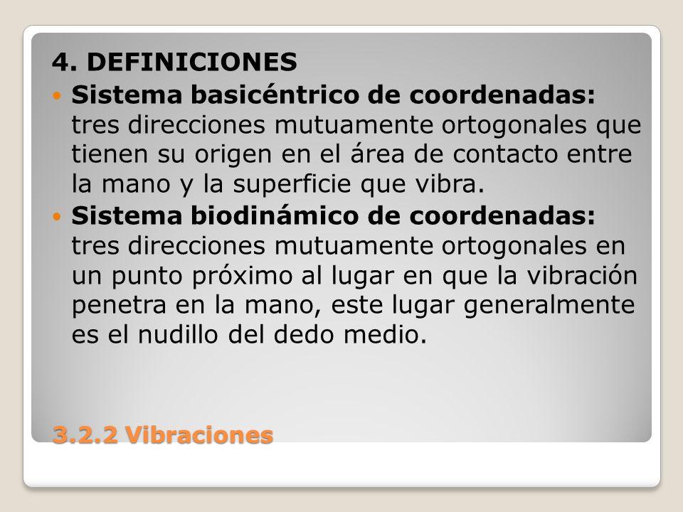 3.2.2 Vibraciones 3.2.2 Vibraciones 4. DEFINICIONES Sistema basicéntrico de coordenadas: tres direcciones mutuamente ortogonales que tienen su origen