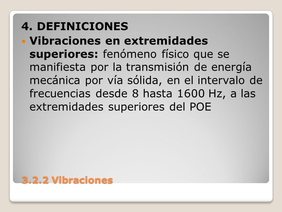 3.2.2 Vibraciones 3.2.2 Vibraciones 4. DEFINICIONES Vibraciones en extremidades superiores: fenómeno físico que se manifiesta por la transmisión de en