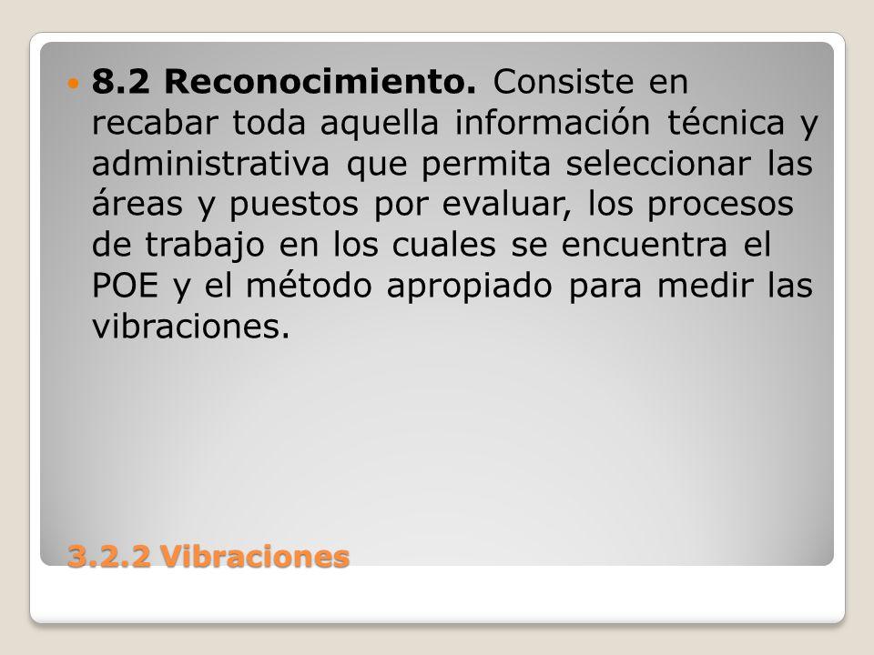 3.2.2 Vibraciones 3.2.2 Vibraciones 8.2 Reconocimiento. Consiste en recabar toda aquella información técnica y administrativa que permita seleccionar