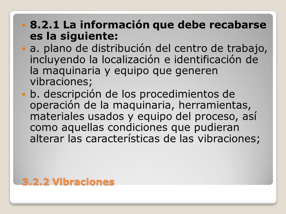 3.2.2 Vibraciones 3.2.2 Vibraciones 8.2.1 La información que debe recabarse es la siguiente: a. plano de distribución del centro de trabajo, incluyend