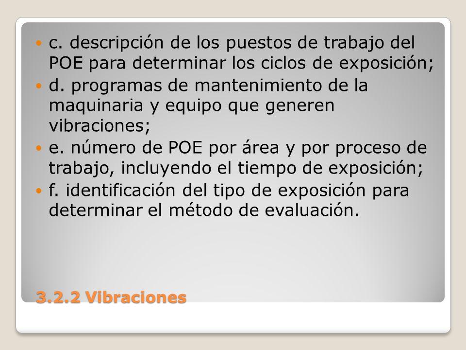 3.2.2 Vibraciones 3.2.2 Vibraciones c. descripción de los puestos de trabajo del POE para determinar los ciclos de exposición; d. programas de manteni