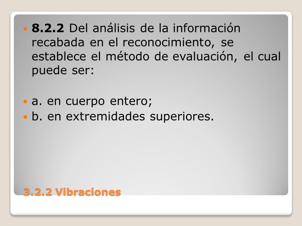 3.2.2 Vibraciones 3.2.2 Vibraciones 8.2.2 Del análisis de la información recabada en el reconocimiento, se establece el método de evaluación, el cual