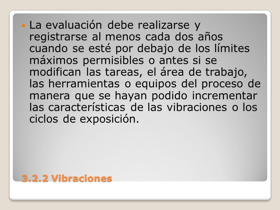 3.2.2 Vibraciones 3.2.2 Vibraciones La evaluación debe realizarse y registrarse al menos cada dos años cuando se esté por debajo de los límites máximo