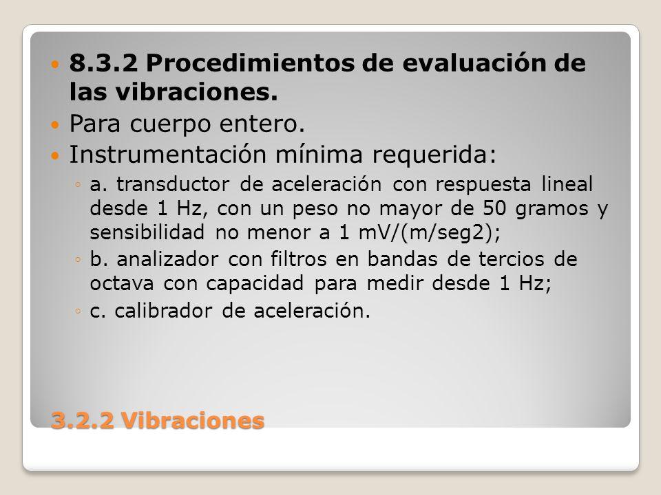 3.2.2 Vibraciones 3.2.2 Vibraciones 8.3.2 Procedimientos de evaluación de las vibraciones. Para cuerpo entero. Instrumentación mínima requerida: a. tr