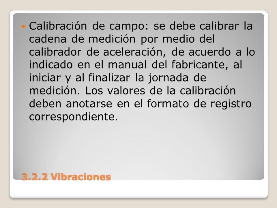 3.2.2 Vibraciones 3.2.2 Vibraciones Calibración de campo: se debe calibrar la cadena de medición por medio del calibrador de aceleración, de acuerdo a