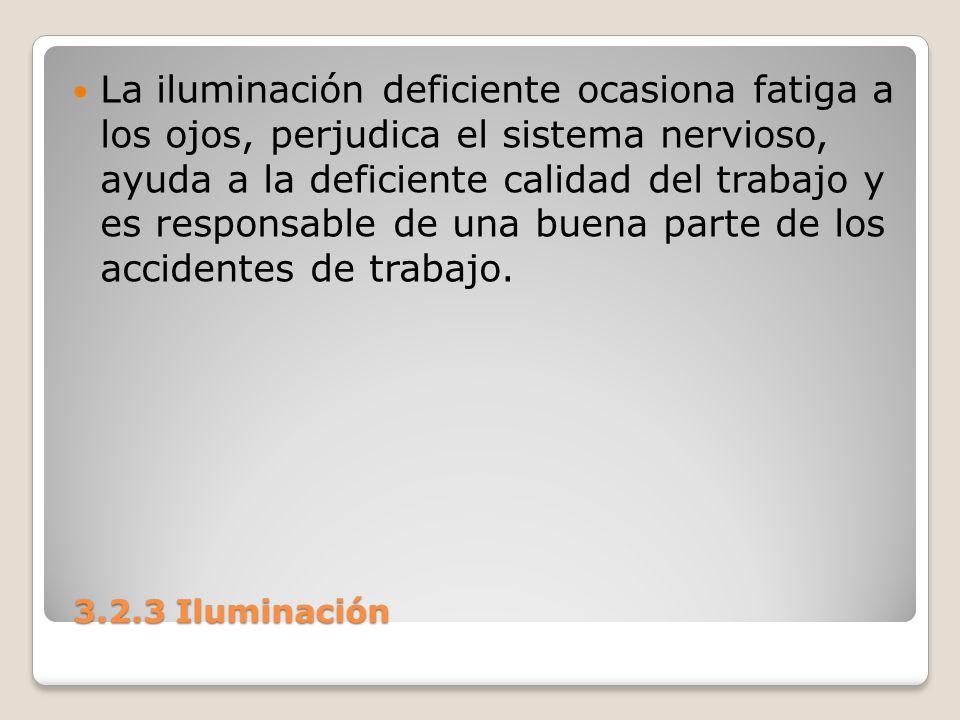 3.2.3 Iluminación 3.2.3 Iluminación La iluminación deficiente ocasiona fatiga a los ojos, perjudica el sistema nervioso, ayuda a la deficiente calidad
