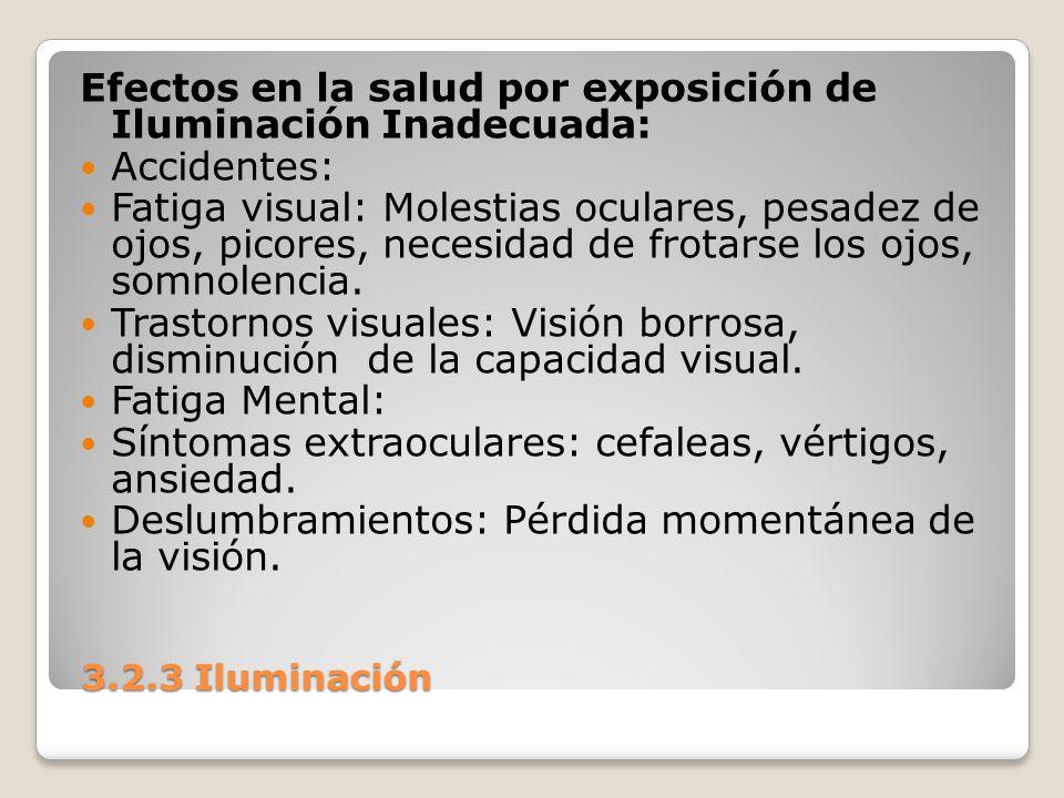 3.2.3 Iluminación 3.2.3 Iluminación Efectos en la salud por exposición de Iluminación Inadecuada: Accidentes: Fatiga visual: Molestias oculares, pesad