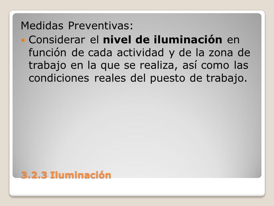 3.2.3 Iluminación 3.2.3 Iluminación Medidas Preventivas: Considerar el nivel de iluminación en función de cada actividad y de la zona de trabajo en la