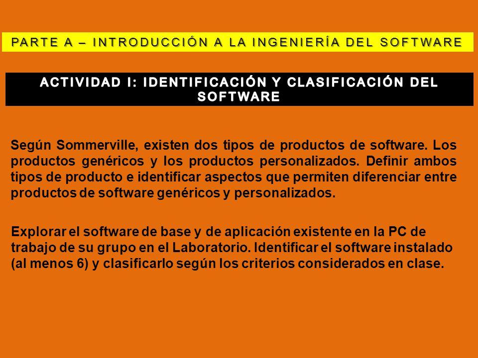PARTE A – INTRODUCCIÓN A LA INGENIERÍA DEL SOFTWARE Según Sommerville, existen dos tipos de productos de software. Los productos genéricos y los produ