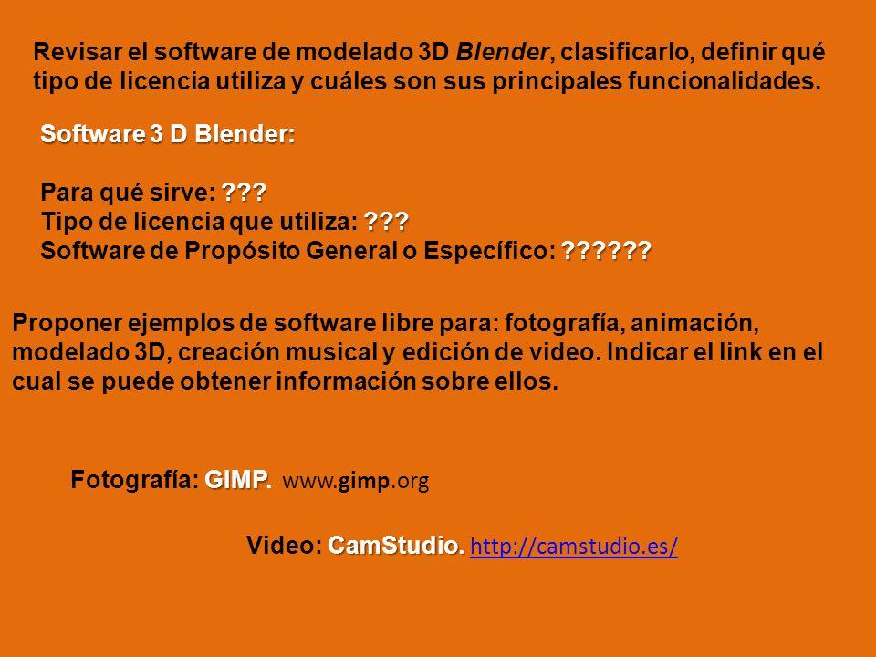 Revisar el software de modelado 3D Blender, clasificarlo, definir qué tipo de licencia utiliza y cuáles son sus principales funcionalidades. Software